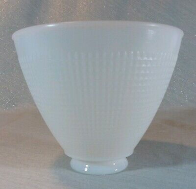 """VTG Corning Milk Glass Lamp Shade Small Cone Waffle Torchiere 2 1/4"""" Fitter"""