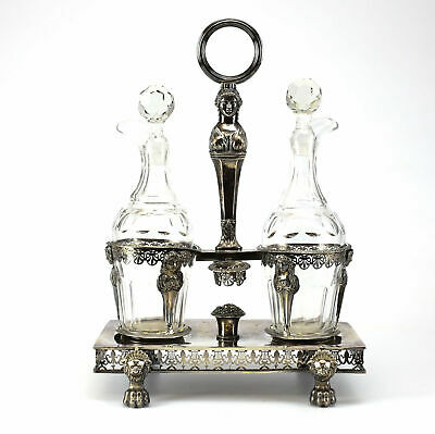 French Hand Chased 800 Silver Set Cruet with / Two Crystal Cut, circa 1810