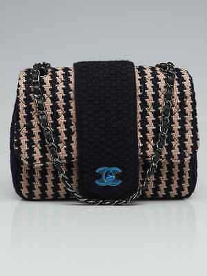 c40c94285513 CHANEL BLUE BEIGE KNIT Tweed Elementary Chic Small Flap Bag ...
