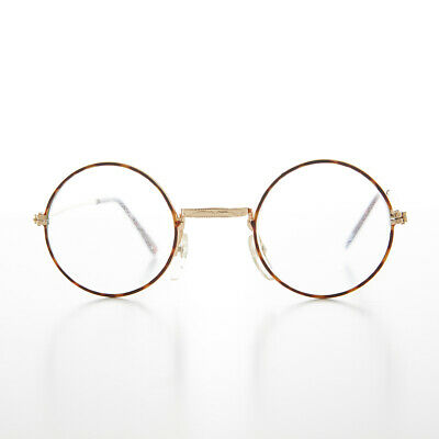 Small Round Spectacle Eyeglass Glass Lens Optical Frame Brown / Gold -Emory