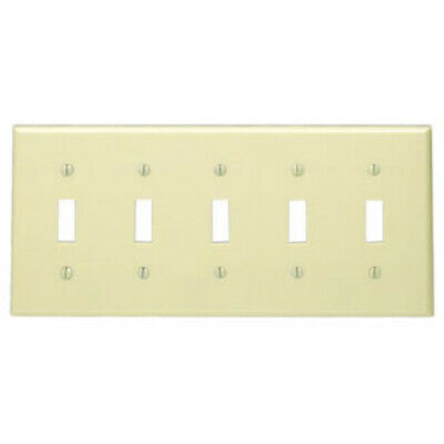 LEVITON IVORY 5-Gang Toggle Switch Wall Plate Plastic Cover 86023 NEW WOW!