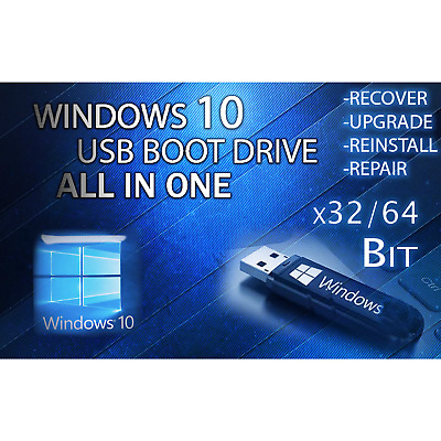 WINDOWS 10 ALL VERSIONS Home Pro Enterprise UPGRADE USB 64/32 Bit PC INSTALL