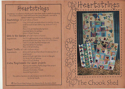PATCHWORK/QUILTING/APPLIQUE PATTERN - 3 'Heartstrings' Quilts
