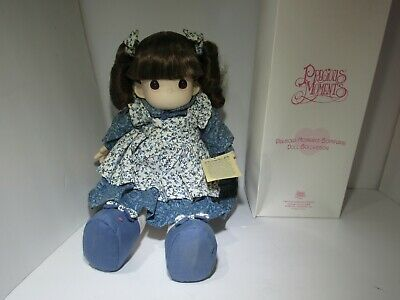Precious Moments Gracie Blue Doll 1100 Calico Dress soft body Vinyl 1996