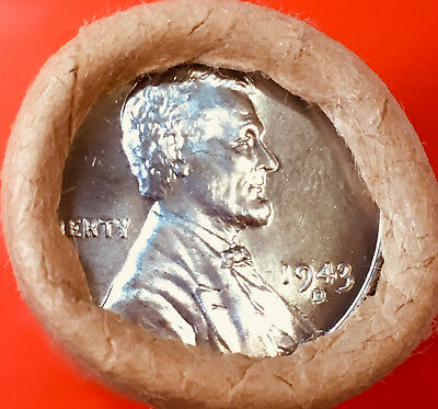 1943-D Steel / Bu Tails Wheat Ends Original Bank Wrapped Roll Lincoln Wheat