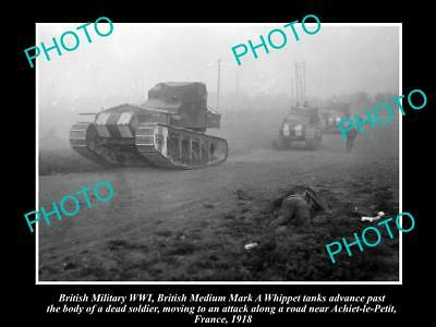 Old Large Historic Photo Of British Army Wwi Mark A Whippet Tank In France 1918