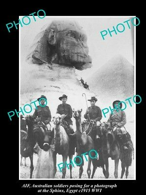 OLD LARGE HISTORIC PHOTO OF AIF ANZAC SOLDIERS ST THE SPHINX WWI c1915 EGYPT