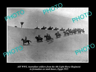 OLD LARGE HISTORIC PHOTO OF AUSTRALIAN ANZAC 4th LIGHT HORSE IN EGYPT c1915