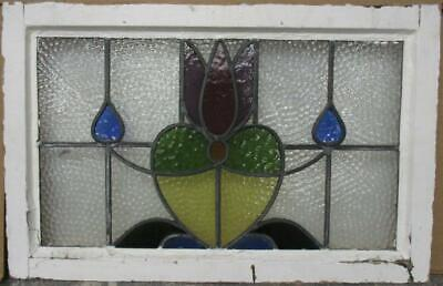 """OLD ENGLISH LEADED STAINED GLASS WINDOW Gorgeous Floral Heart 27"""" x 17.25"""""""