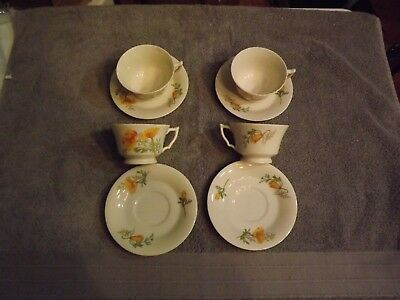Syracuse China/ Onondaga Pottery California Poppy 4 cups and saucers