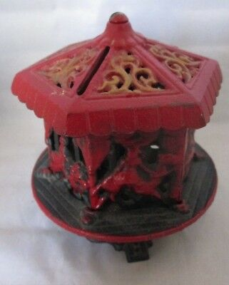Cast Iron Carousel Bank Vintage Merry Go Round Red marked JW   Repro