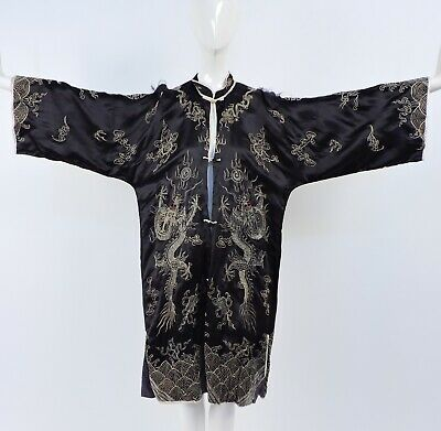 Antique 19Th C Chinese Embroidered Robe As Found