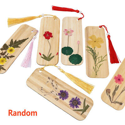 Retro Dried Flowers Bamboo Material Bookmarks Chinese Style Bookmark with Tassel