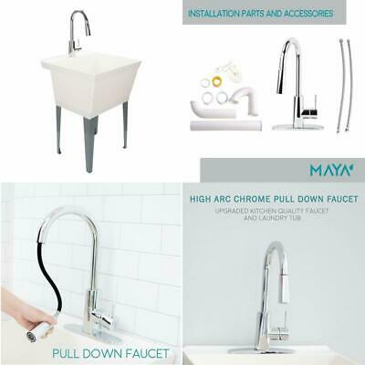 Laundry Utility Sink Wash Bowl Basin Floor Freestanding Single Drain Standing