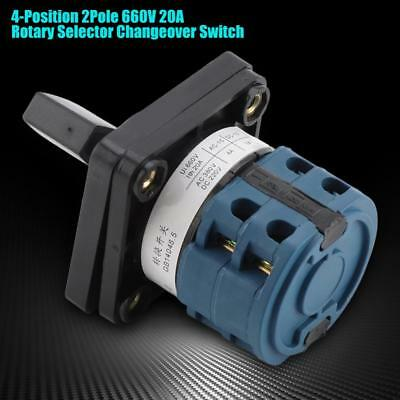 New 20A 4-Position 2 Pole Rotary Selector Universal Rotary Cam Changeover Switch