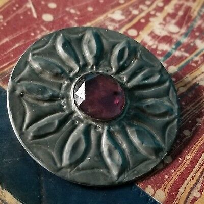 Antique ARTS & CRAFTS Faceted Mauve PEWTER Brooch Pin PRENTICE CHIPPING CAMPDEN