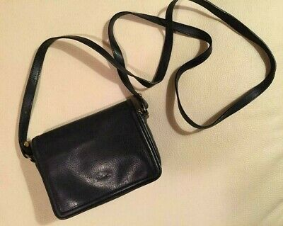 1667702a82 Vintage Longchamp Small Black Pebbled Leather Crossbody Bag, Made in France