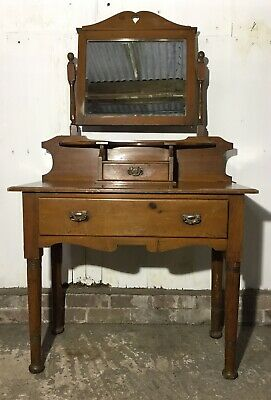 Vintage Antique Dressing Table Arts And Crafts With Mirror And Drawers