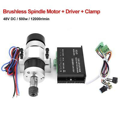 ER16 DC48V 500W High Speed Air Cooling Brushless Spindle Motor+Driver+Clamp Kit