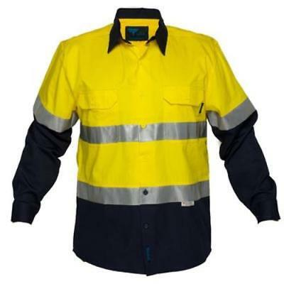 Prime Mover Cotton Drill Shirt Yellow Navy Long Sleeve 3M Tape Large