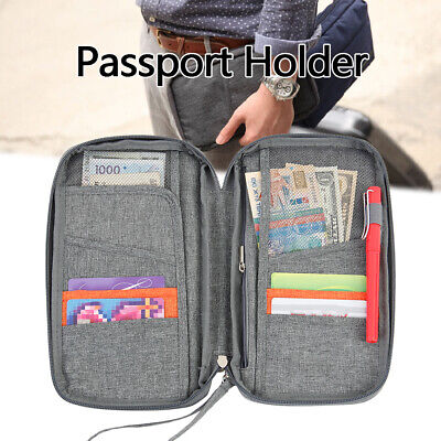 Travel Document Organizer Family Passport Holder Wallet with Wristlet Strap NEW