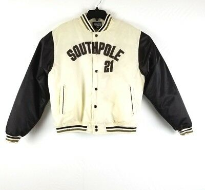 SOUTHPOLE Womens SZ XL 21 Ivory Brown Authentic Collection Satin Bomber  Jacket 4becda90d