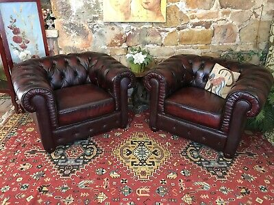 2 x Vintage Chesterfield Leather Tubs Lounge Chair~Pair~Sofa Armchair