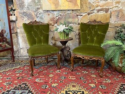 Pair~Vintage French Louis Chesterfield Side/Bedroom Chairs~Bergere-Made in Italy