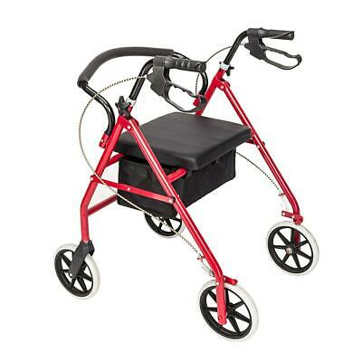 Medical Rollator Fold Up Rolling Senior Walker with Padded Seat Red