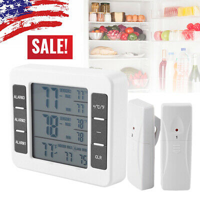 Wireless Digital Refrigerator Freezer Thermometer + Sensor High Low Temperature