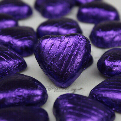 PURPLE Foil Wrapped Milk Chocolate Hearts Table Favours Weddings Party Sweets
