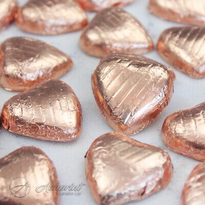 COPPER Foil Wrapped Milk Chocolate Hearts Table Favours Weddings Party Sweets
