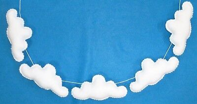 Handmade felt baby/child's white cloud nursery bunting/garland/decoration
