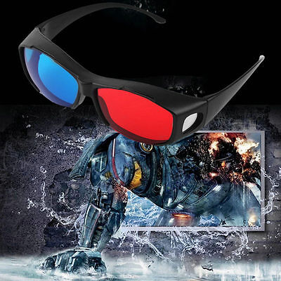 Black Frame Red Blue 3D Glasses For Dimensional Anaglyph Movie Game DVD Y9