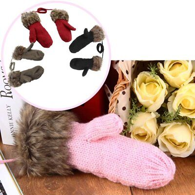 Winter Warm Mittens Thick Knitted Weave Woolen Fur Halter Strap Gloves GirlCS