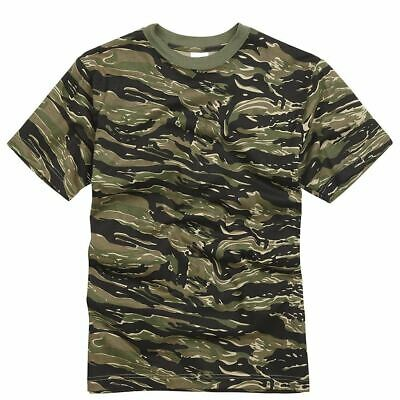 Mens Army Military Style T shirts Cotton Tee Short Sleeve Top Tiger Stripe Camo