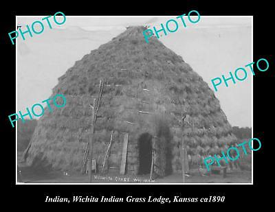 OLD LARGE HISTORIC PHOTO OF WHICITA INDIAN GRASS LODGE KANSAS AREA c1890