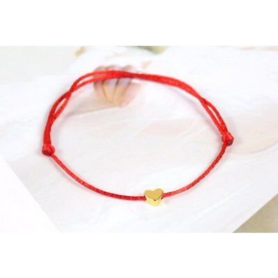 Adjustable Red Lucky Heart Beads Bangle Wristband Bracelet Valentine's Day Gift