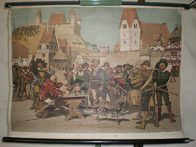 Schulwandbild Wachsmuth Farmers and Mercenaries 85x63cm Vintage Wall Chart ~