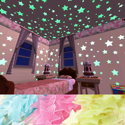 100pcs Wall Glow In The Dark Stars Stickers Baby Kids Nursery Bed Room Ceiling