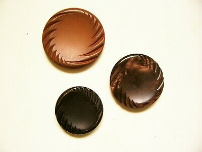 3 large vintage large 'feature' buttons with same engine-turned pattern to edge