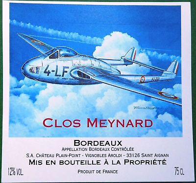 BERGESE Buck Danny Avion double queue  Etiquette de Vin BD Bordeaux Clos Meynard
