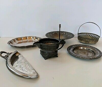 Vintage Lot of 6 Silver Plate Candy Dish, Creamer, Server, Trays by Rogers, Etc