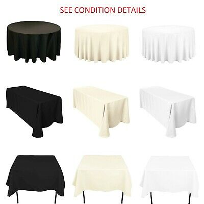 Plain Polyester Tablecloth Round Rectangle Square TableCover Wedding Table Decor