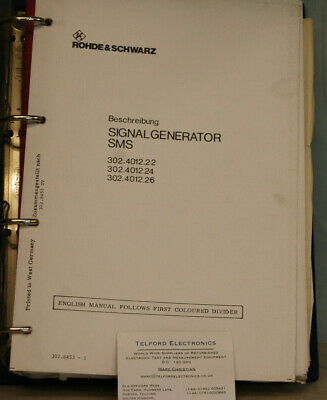 Rohde & Schwarz 302.4015.22 Siganl Generator SMS Technical Manual