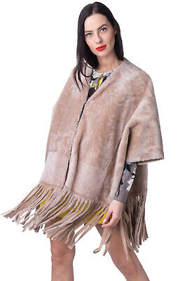 DROME Shearling Poncho Size S Fringe Trim 3/4 Sleeve Hook Front Made in Italy