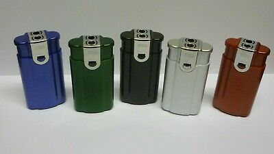 Twin Flame Gas Jet Windproof Lighter  Refillable Flame Control Metallic  Design