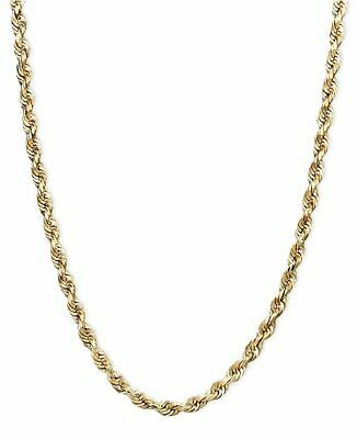 "14K Solid Gold Rope Chain Necklace 2.5mm Men Women 16"" 18"" 20"" 22"" 24"" 26"" 30"""