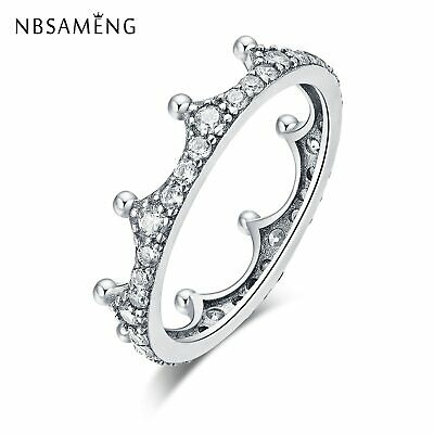 2018 Authentic 925 Sterling Silver Crystal Enchanted Crown Pave Clear CZ Ring