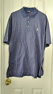 Polo Golf Ralph Lauren Mens Cotton Short Sleeve Navy White Checkered Shirt Sz L